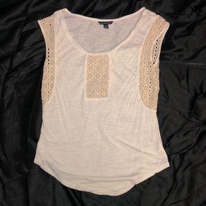 White w/ Cream Embroidery Tank Top